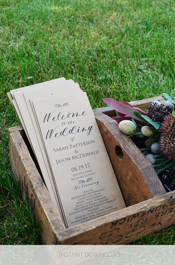 with a bit of creative thinking you can have your order of service do double duty and use your wedding programs as a fan