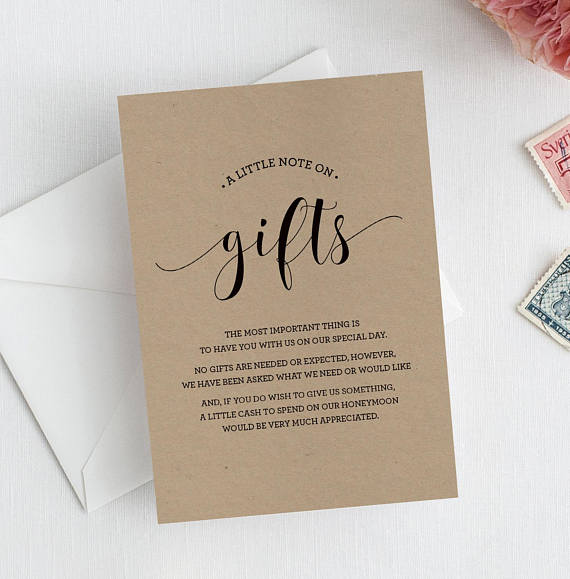 Check out the video on how to manage asking for gifts with your wedding invitation, and grab the full list of wishing well poems here.