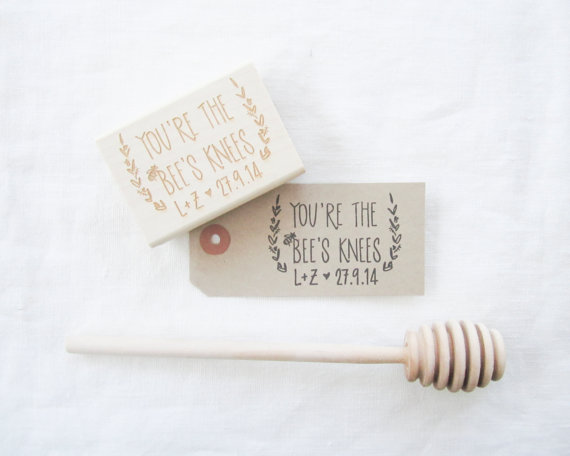youre the bees knees stamp for wedding favours