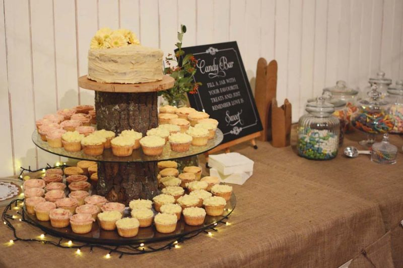 cupcake stand and cutting cake at diy wedding