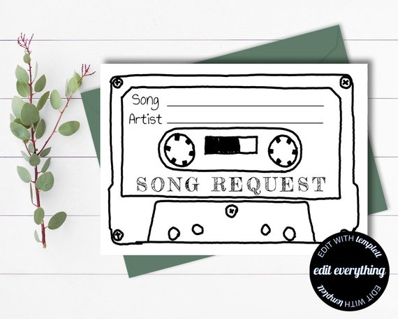 Song Request card for wedding day music
